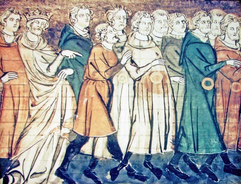 Миниатюра, изображающая изгнание евреев из Франции. Великие французские хроники, 1182